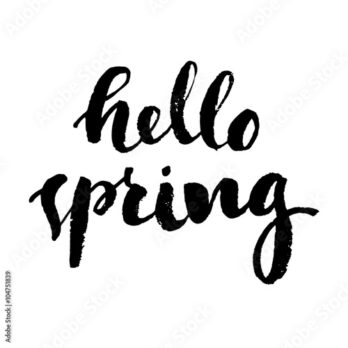 Fototapeta hello spring vector text