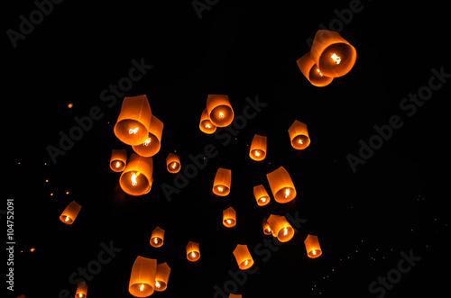 Fotografie, Obraz  Floating lanterns ceremony or Yee Peng ceremony, traditional Lanna Buddhist cere