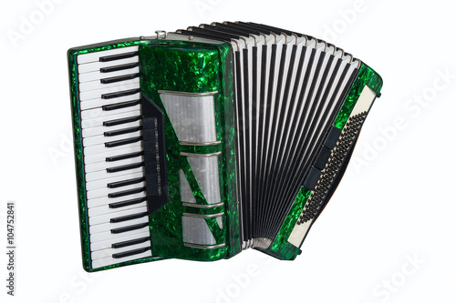 Fotografía  green accordion isolated on white background