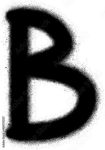 Acrylic Prints Graffiti sprayed B font graffiti in black over white