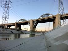 Los Angeles River Bridge At Du...