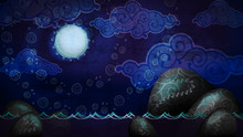 Cartoon Style Night Seascape With Full Moon And Boulders In The Water