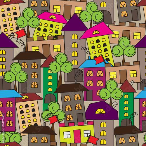 kwadratowy-wzor-z-domow-i-drzew-cartoon