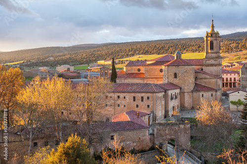 Monastery of Santo Domingo de Silos at sunset, in the province of Burgos, Spain