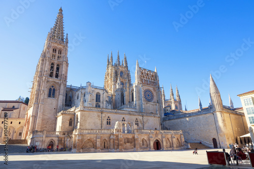 Gothic Cathedral of Saint Mary in Burgos, Spain. Its construction began in 1221 but work continued off and on until 1567
