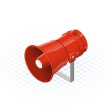 Isometric Loudspeaker Alarm Horn Sounder A Safety Equipment Vector Illustration