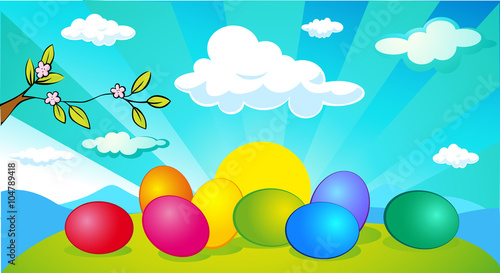 Spoed Foto op Canvas Turkoois horizontal easter and spring banner design with easter egg - vector illustration