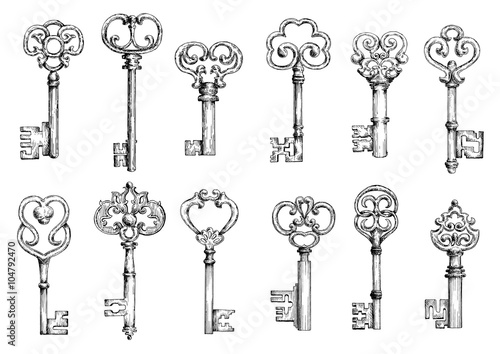 Fotografie, Obraz  Vintage keys sketches in engraving style