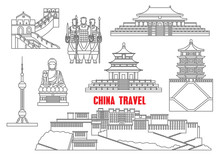China Landmarks Thin Line Icons