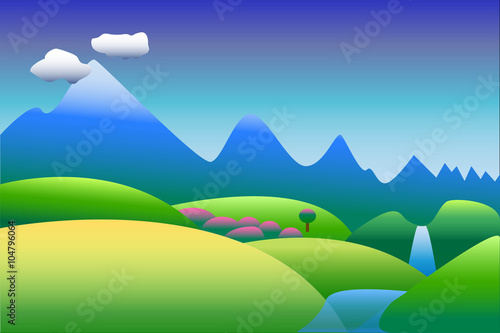 In de dag Pool Peaceful landscape with waterfall and mountains vector background