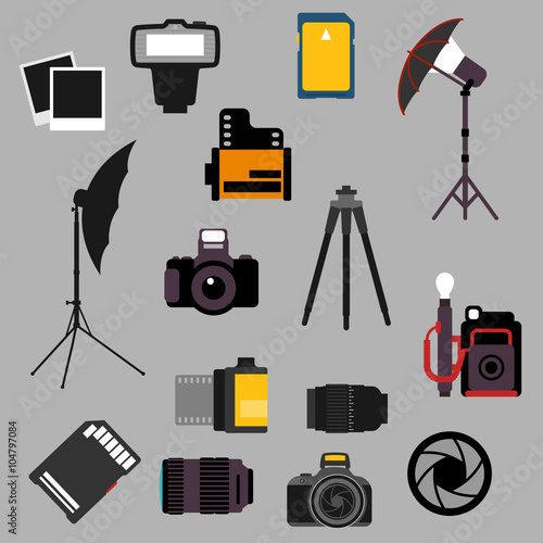 Foto op Canvas Licht, schaduw Photographic equipment and devices flat icons