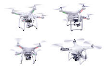 Set Of Images White Little Drone Isolated Over White Background