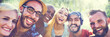 canvas print picture - Diverse Summer Friends Fun Bonding Selfie Concept