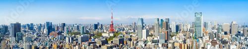 Poster Tokyo Tokyo Skyline Panorama im Sommer mit Tokyo Tower