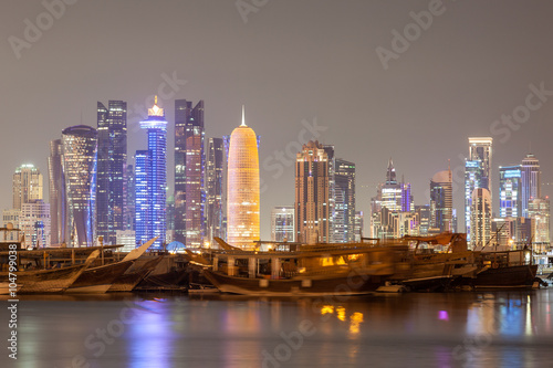 Poster Moyen-Orient Doha city skyline at night, Qatar