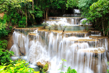 Plakat Huai Mae Khamin waterfall in deep forest Thailand.