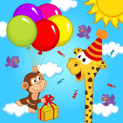 Fototapetagiraffe celebrating birthday - vector illustration, eps