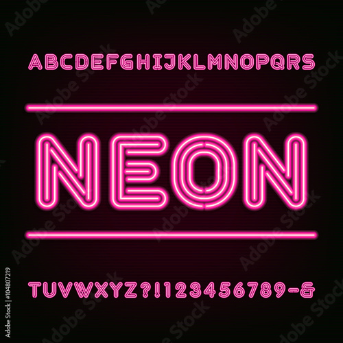 Neon Light Alphabet Font. Type letters, numbers and symbols. Red neon tube letters on the dark background. Vector typeset for labels, titles, posters etc.