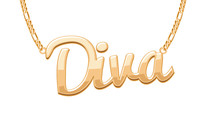 Golden DIVA Word Pendant On Ch...