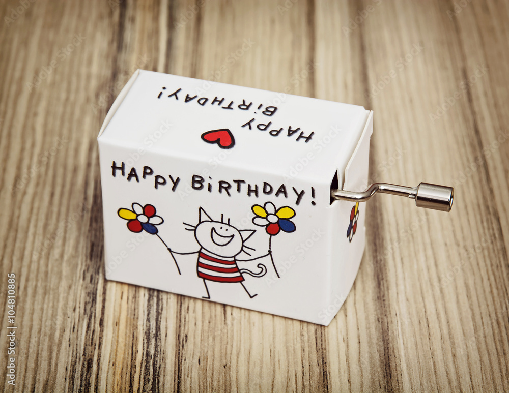 Music box with funny title happy birthday Poster