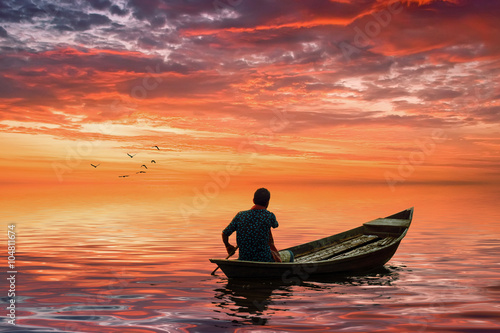 A man riding boat in bangladesh Wallpaper Mural