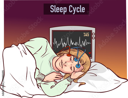 Photo  vector illustration of a young girl sleeping and Sleep cycle gr