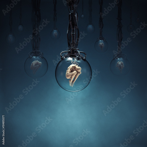 Photo Ripe for the harvest / 3D render of human figures being cloned in glass pods