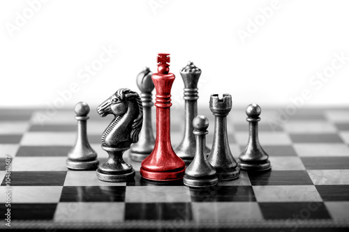 Fotografiet  Chess business concept, leader & success