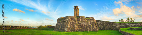 Recess Fitting Fortification Anthonisz Memorial Clock Tower in Galle. Panorama