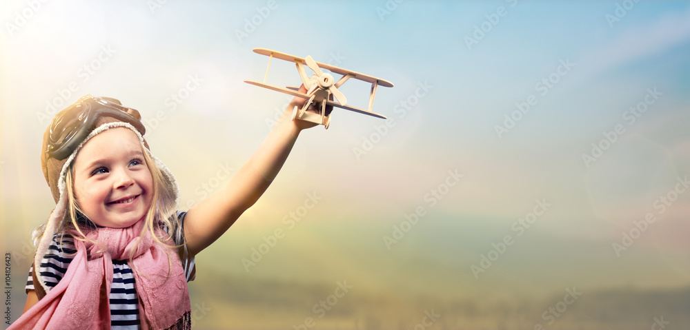 Fototapety, obrazy: Freedom To Dream - Joyful Child Playing With Airplane Against The Sky