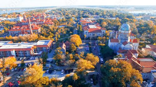 Valokuvatapetti Saint Augustine, Florida. Aerial view at dusk
