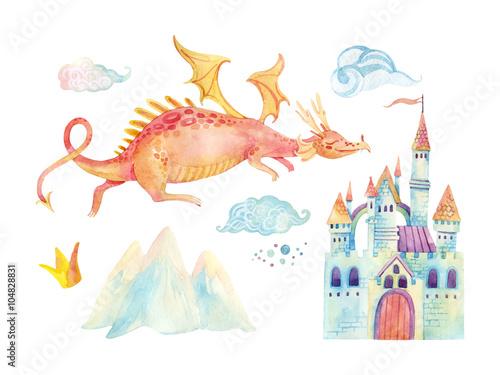 Akwarela baśń kolekcja z ładny smok, magiczny zamek, góry i bajki chmury