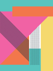 Fototapeta Abstrakcja Abstract retro 80s background with geometric shapes and pattern. Material design wallpaper.