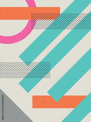 Fotografia  Abstract retro 80s background with geometric shapes and pattern
