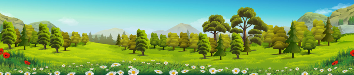 Naklejka Do przedszkola Meadow and forest, nature landscape, vector background