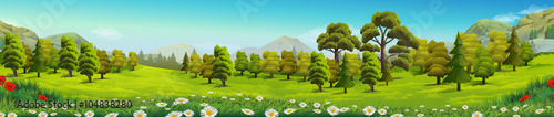 Garden Poster Pistachio Meadow and forest, nature landscape, vector background
