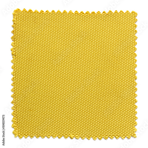 Fotobehang Stof yellow fabric swatch samples isolated on white background
