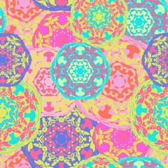 FototapetaGypsy seamless pattern of abstract multicolored round mandalas. Ethnic background