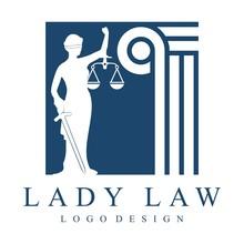 Simple Square Design Of Lady Justice, Pillar Law Illustration