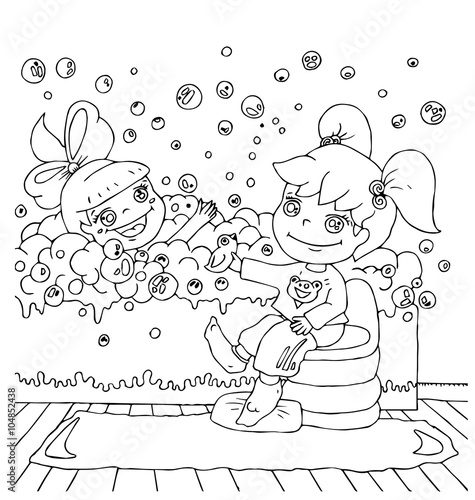In de dag Cartoon draw children in the bathtub watching your hygiene hand drawn outline for coloring isolated on the white background