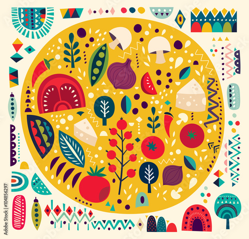 Sztuki wektorowa kolorowa ilustracja z pizzą i innymi elementami
