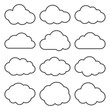 Cloud Shapes collection. Set of Thin Line Cloud Icons.