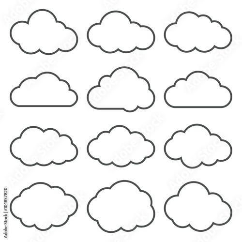 Kolekcja Cloud Shapes. Zestaw ikon chmury cienka linia.