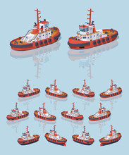 Low Poly Red And White Tugboat. 3D Lowpoly Isometric Vector Illustration. The Set Of Objects Isolated Against The Light-blue Background And Shown From Different Sides