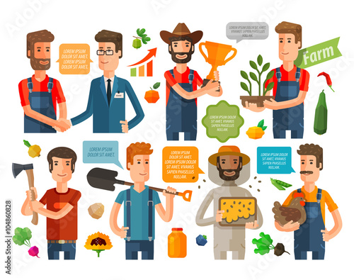 Obraz na plátne farmer, horticulturist or farming icons set. vector illustration