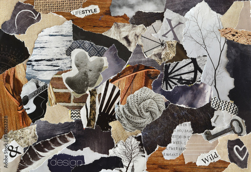 Fotografie, Obraz  life style Atmosphere color grey, brown, black and black mood board collage shee