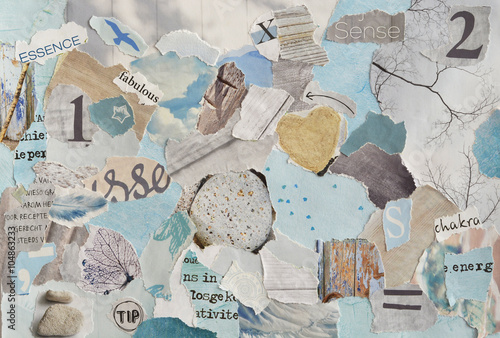 serene zen Creative Atmosphere art mood board collage sheet in color idea  aqua blue , mint green,grey, white made of  teared magazine and printed matter paper with colors and textures