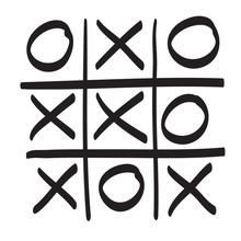 Hand Drawn Tic Tac Toe Vector Scribble Icon Symbol Illustration