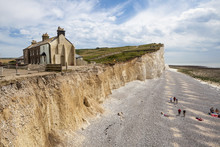 SEAFORD, SUSSEX Uk.The Cliffs And Lighthouse At Beachy Head On The South Coast Of England.