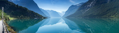 Deurstickers Scandinavië Lovatnet lake, Norway, Panoramic view